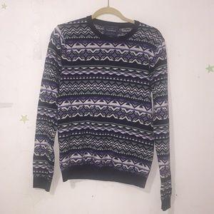 USED Top Man Purple/Black/White Sweater Sz S